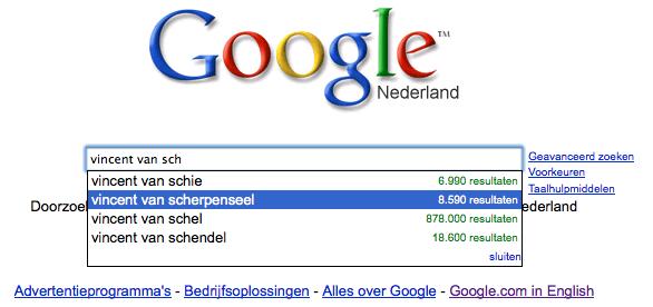 Google query for 'Vincent van Scherpenseel'