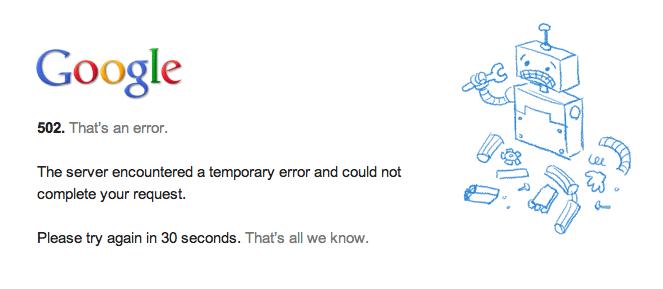 Google Server Error 502