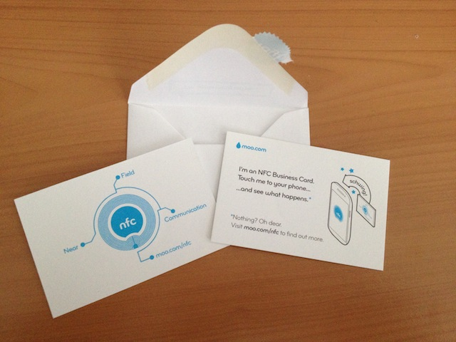 NFC business card sample from Moo