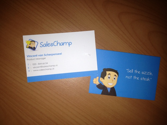 Business card of Vincent van Scherpenseel, Product Manager at SalesChamp