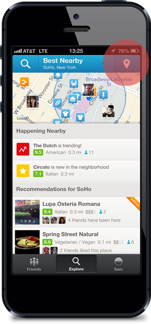 Check-in target in the Foursquare app on iPhone 5 device