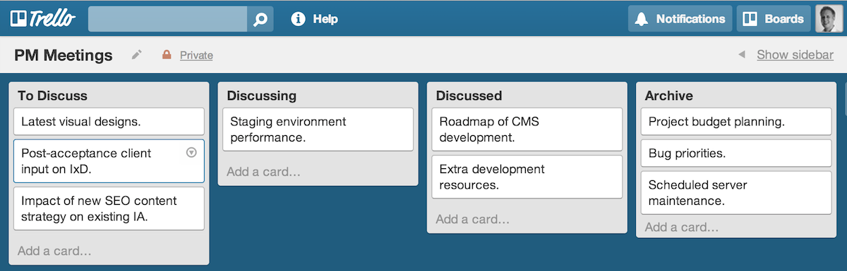 Lean Meetings example board on Trello.com