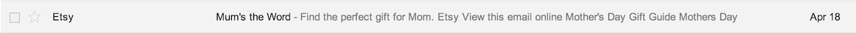 Google Mail inbox snippet of Etsy's newsletter